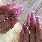 Brishow Uñas postizas largas Bailarina de cristal rosa Acrílico Prensa en las uñas Cubierta Palo en las uñas 24 piezas para mujeres y niñas