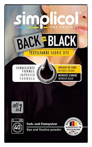 Simplicol Farberneuerung Back-to-Black, Schwarz: Farbauffrischung und -Erneuerung in der Waschmaschine, Hautfreundlich, All-in-1, komplette DIY Färbemischung mit Textilfarbe für Stoffe