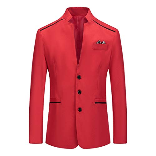 Outwear Coat Suit Men Stylish Casual Patchwork Business Wedding Party Tops (L,Red)