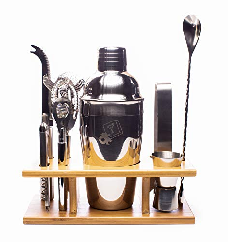 Happy hour at home! Eight Piece Stainless Steel Cocktail Shaker Set by DragonEra Products. Everything you need in one place to make the perfect margaritas, cosmos, martinis, and any craft cocktail!