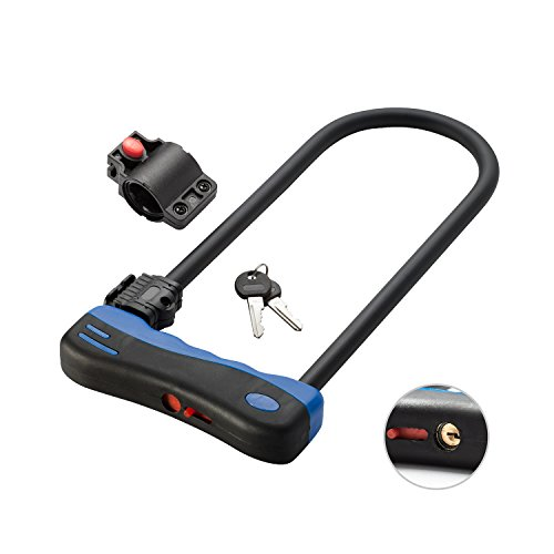 Bike U Lock with Bracket, Via Velo Heavy Duty U Lock with Dust Cover and Shackle 300mmx140mm for 1 Or 2 Bikes and Motorcycle and Scooter.