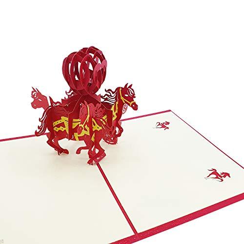 Tarjeta de felicitación 3D de amor - 4 Caballos con Corazones - Postal 3D de Amor para San Valentín, aniversario, pareja, novio, novia, padre, madre, hijo, hija