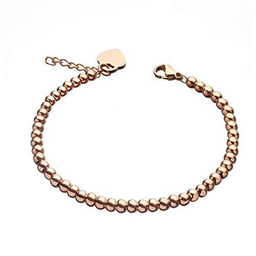 URBANHELDEN - Edelstahl Perlen Armband mit Herz Anhänger - Edelstahlarmband Perlenarmband - Damen Herzarmband - Damenarmband Schmuck - Rosegold