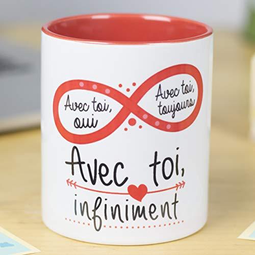 Nos pensées - Tasse avec Message Romantique (avec toi, Oui. avec toi, Toujours. avec toi, infiniment) Cadeau Original pour la Saint-Valentin