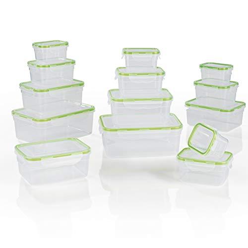 GOURMETmaxx Frischhaltedosen Klick-it 28 tlg. | Spülmaschinen- Mikrowellen- und Gefrierschrankgeeignet | Deckel BPA-frei mit 4-fach-Klick-Verschluss | Ineinander stapelbar [in 4 Größen, transparent]