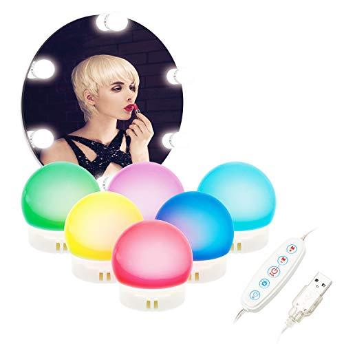 ILEBYGO LED Spiegelleuchte, Hollywood Stil Schminktisch Beleuchtung für Make-up, Farbiges Licht Lampen Spiegel für Led Spiegel, Weißes Licht Schminktisch Lichter für Kosmetikspiegel(6 LED Lampen)