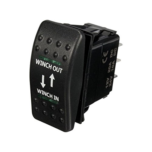 TOOGOO 12V 20A Winch In Winch out Interruptor Basculante ON-Off-ON 7 Pin LED Verde