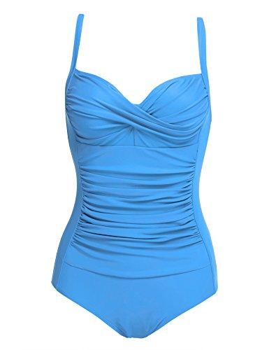 Ekouaer 50s Retro Vintage Style One Piece Vintage Monokini Swimsuit, Sky Blue, XL