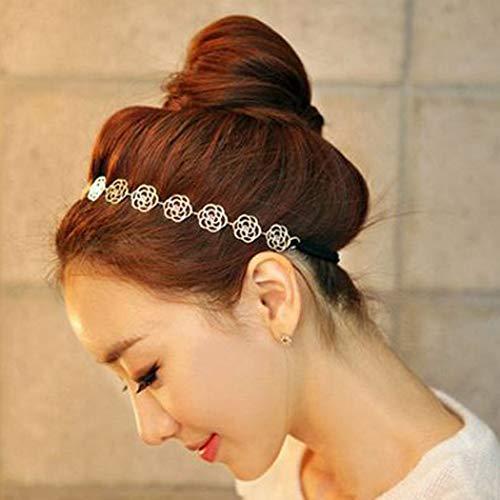Jovono Kopfkette, Haarband mit durchbrochenem Rosenmuster, Kopfschmuck für Hochzeit, Stirnband im Vintage-Stil, Legierung, dehnbar