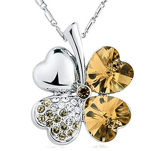 Liadance Plateado Plata 1PC trébol de Cuatro Hojas Collar de Lujo joyería Collar Afortunado de la joyería con Crystal Charm Colgante Ajustable para niñas (de Oro) La Mejor opción para los Regalos