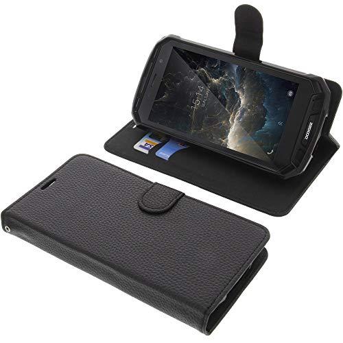 foto-kontor Tasche für Doogee S60 / S60 Lite Book Style schwarz Schutz Hülle Buch