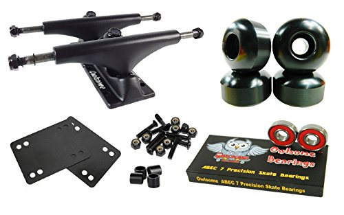 Owlsome 5.0 Black Aluminum Skateboard Trucks w/ 52mm Wheels Combo Set (Baby Blue)