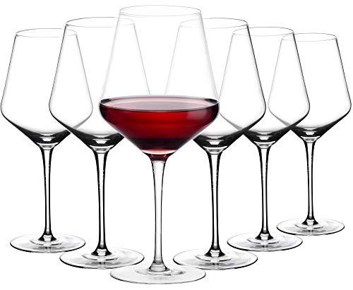 Amisglass Copas de Vino Tinto, Cristalería Copas de Vino Personalizada Juego 6...