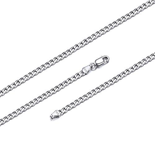 Silvora Cadena de Plata para Hombre 3mm Ancho 66cm Collar Largo