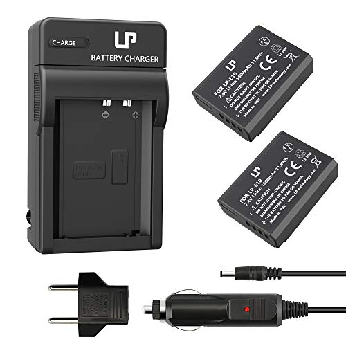 LP LP-E10 Battery Charger Pack, 2-Pack Battery & Charger, Compatible with Canon EOS Rebel T7, T6, T5, T3, T100, 4000D, 3000D, 2000D, 1500D, 1300D, 1200D, 1100D &More (Not for T3i T5i T6i T6s T7i) Car Battery Charger Set