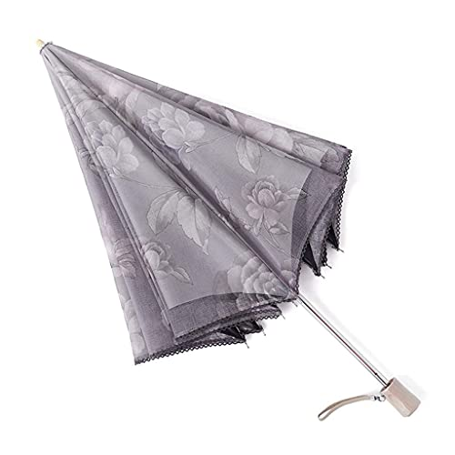 Paraguas Plegable Protector Solar Anti-UV Encaje Encaje Vinilo Mujer Plegable Lluvia Sombrilla de Doble Uso Paraguas Plegable