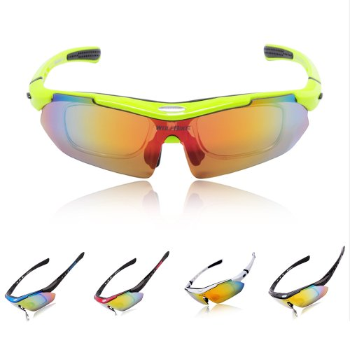 BOS Polarized Cycling Sun Glasses Outdoor Sports Bicycle Glasses Bike Sunglasses Running Driving Racing Ski Goggles Eyewear Cool with Exchangeable 5 Lens White Frame