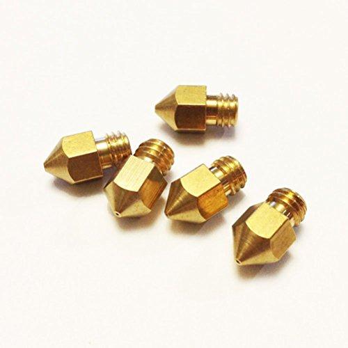 Pixnor 5 pezzi 0.4 mm Estrusore ugelli in ottone per stampante 3D (d'oro)
