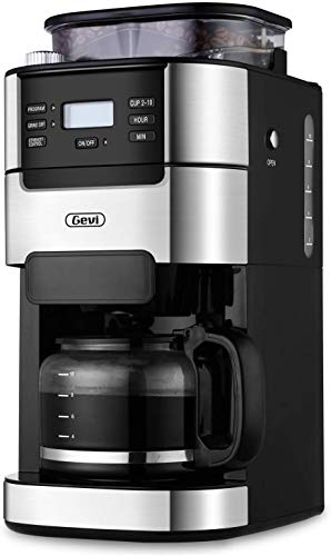 10-Cup Drip Coffee Maker, Grind and Brew Automatic Coffee Machine with Built-In Burr Coffee Grinder, Programmable Timer Mode and Keep Warm Plate, 1.5L...