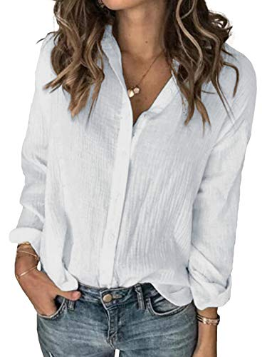 Karlywindow Womens Long Sleeve Button Down Cotton Linen Shirt Blouse Loose Fit Casual V-Neck Tops White