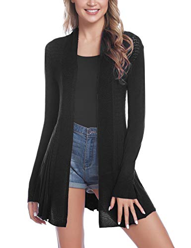 iClosam Womens Casual Long Sleeve Open Front Cardigan Sweater (#2Black, Large)