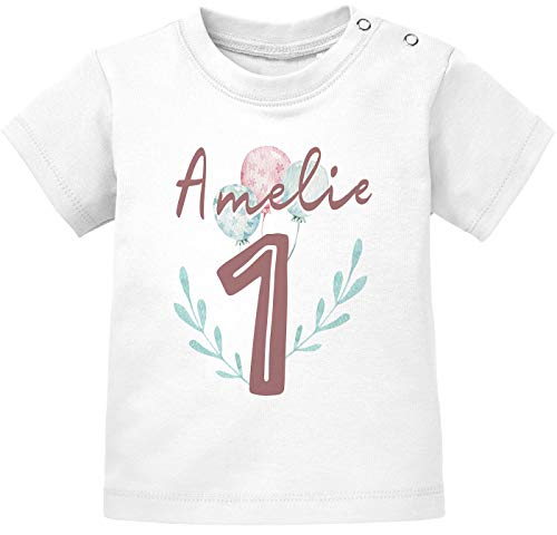 SpecialMe® personalisiertes Baby T-Shirt Name Zahl 1 Alter 2 Geburtstagsshirt Mädchen 1 weiß 80/86 (10-15 Monate)