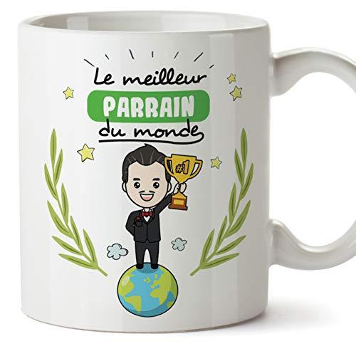 Mugffins Parrain Mug/Tasse - Meilleur Parrain du Monde - Tasse Originale/Cadeau Anniversaire/Fête des Pâques/Future Parrain. Céramique 350 ML