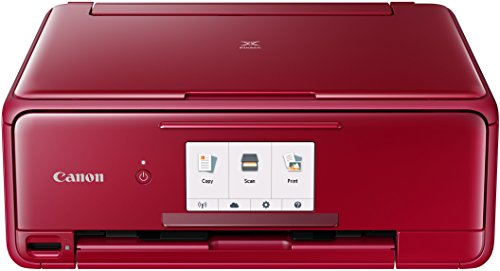 Canon PIXMA TS8152 Farbtintenstrahl-Multifunktionsgerät (Drucken, Scannen, Kopieren, 6 separate Tinten, WLAN, Print App, Duplex, automatischer Duplexdruck, 2 Papierzuführungen) rot