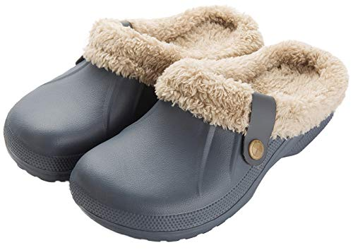 ChayChax Waterproof Slippers Women Men Fur Lined Clogs Winter Garden Shoes Warm House Slippers Indoor Outdoor Mules Grey
