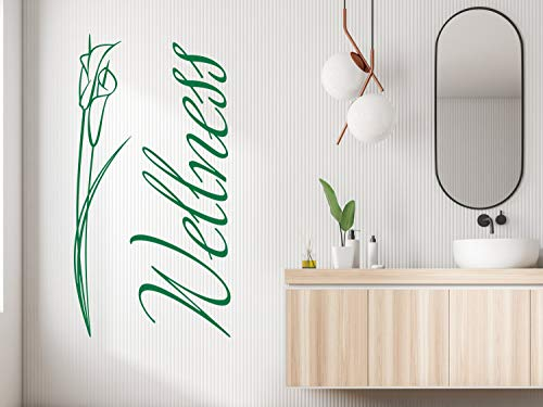 GRAZDesign Baddekoration Schriftzug, Klebefolie maritim Spa Lounge Raum Oase, Wandtattoo Entspannung mit Calla Blume / 58x30cm / 055 Mint