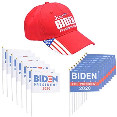 Tuantan 20 Stück Biden 2020 Handflaggen und 1 Packung Biden 2020 Hut 2020 Wahl Baseballkappe Vote für Ihren Präsident