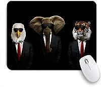 マウスパッド 個性的 おしゃれ 柔軟 かわいい ゴム製裏面 ゲーミングマウスパッド PC ノートパソコン オフィス用 デスクマット 滑り止め 耐久性が良い おもしろいパターン (面白い動物のスーツネクタイメガネイーグルアフリカゾウタイガーコスプレジェントリーユーモア付き)