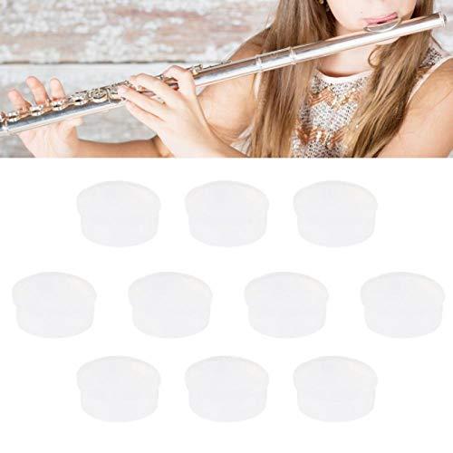 Tapones de orificio de flauta de 10 piezas, tapones de orificio abierto suaves de goma para accesorios de piezas de reparación universales de flauta(CF99 transparente)