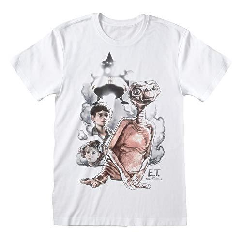 E.T. Vintage Sketch Novio Ajuste De La Camiseta De Las Mujeres Blanco S