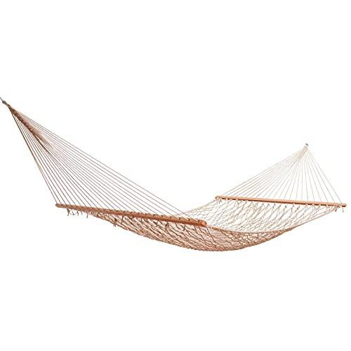 Bahamas - Amaca in rete con asta di divaricatore in legno, resistente alle intemperie, colore: Bianco naturale