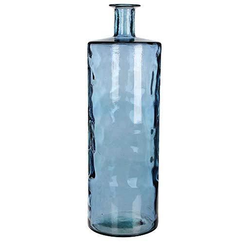 MICA Decorations flesvaas Guan glas blauw 75 x Ø 25 cm - bloemenvaas - decoratieve vaas - glazen flessen