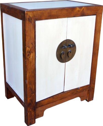 Guru-Shop Ladekast, Chinese Koloniale Stijl, Wit, Hout, 64x50x35 cm, Ladekasten Dressoirs