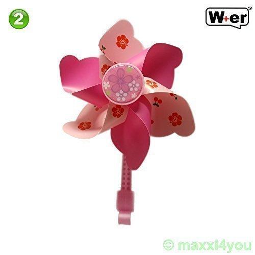 01300601 W+er windmolen kinderfiets fietswindmolen kliphouder 3 uitvoeringen (2) pinktonen