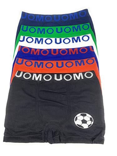 Laake 6 Jungen Unterhosen Kinder Unterwäsche Microfaser Retro-Pants Boxer Shorts Uomo Sportwäsche Design: Fussball, Größe 104-116 (Design: Fussball, 104-116)