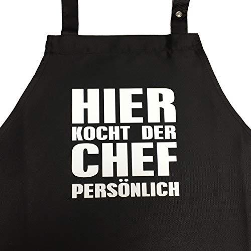 Hier kocht der Chef persönlich - Kochschürze, lustige Grillschürze für den Mann mit verstellbarem Nackenband und Seitentasche (Schwarz)