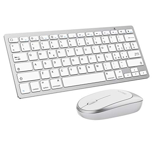 OMOTON Kit Tastiera Mouse Bluetooth Compatibile con iPad e iPhone (iPadOS/iOS 13 o Successiva), iPad 10.2 2019 & 2020/ 6a Gen/ 5a Gen, Air 4 10.9/3/ 2, iPad PRO/Mini, Leggera e Sottile-Bianca