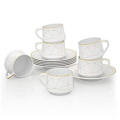 6-Piece Porcelain Ceramic Coffee Tea Gift Sets, ADDTREE Light Series 100% Handmade Gold Stripe Tea Service Set,Ceramic Cup,Teapot, Sugar Bowl