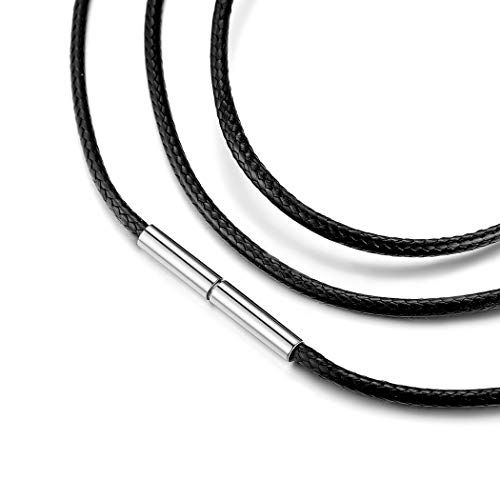 Black Wax Cord Necklace 2mm, Leather Braided Rope Chain for Pendant Jewelry Making with Stainless Steel Magnetic Clasp, Unisex Jewelry, Multilayered Bracelet Long Chain Necklace for Men Women