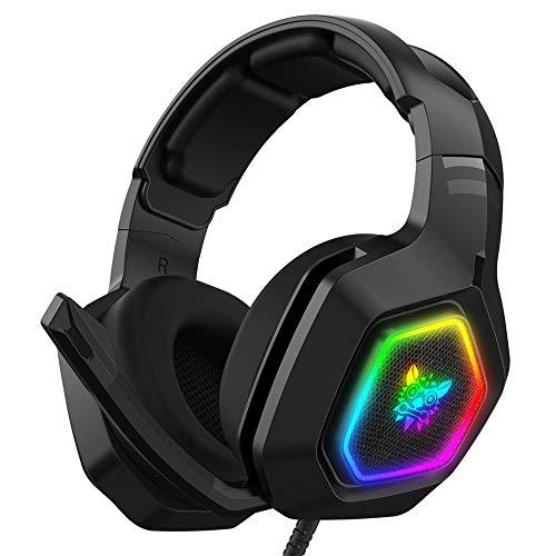 Audífonos Gamer Auriculares para juegos, estéreo bajo envolvente RGB con cancelación de ruido, auriculares con micrófono, para PS4...