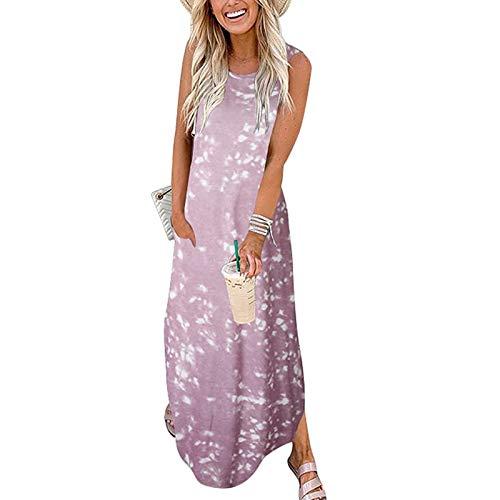 Vestidos Playa Mujer Largos, Mujeres Casual Gradient Colors Pocket Vestido Largo sin Mangas Split Maxi Vestidos