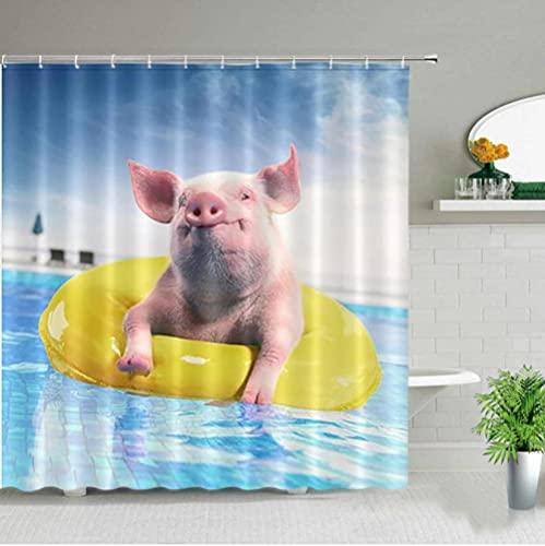 Cortinas de Ducha de baño de Cerdo Animal Divertido Piscina Juego de Cortina de Tela de Cerdito Impermeable decoración de bañera de baño para el hogar-240cmx200cm