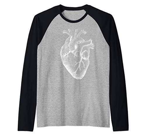 corazón humano anatómico Anatomía del corazón Camiseta Manga Raglan