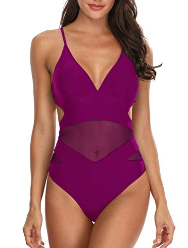 Holipick Women Mesh One Piece Monokini Swimsuits V Neck Sexy Cutout Open Back Bathing Suit Magenta L