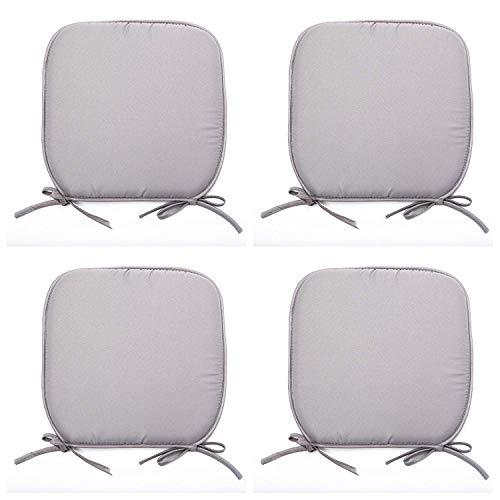 SmartMove Set of 4 Padded Chair Seat Pads Cushion - Plain Design 38x38x1.5cm (Grey, 4)