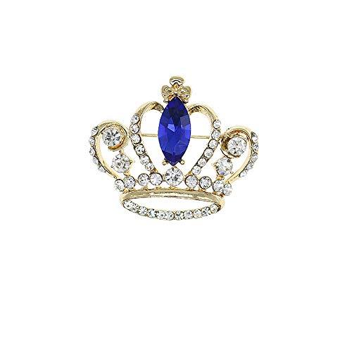 HSQYJ Broche de corona brillante con diamantes de imitación para mujer, elegante en forma de corona, broche de princesa, broche de vestir, suéter, abrigo
